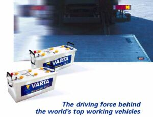 working lorry and Varta commercial vehicle batteries